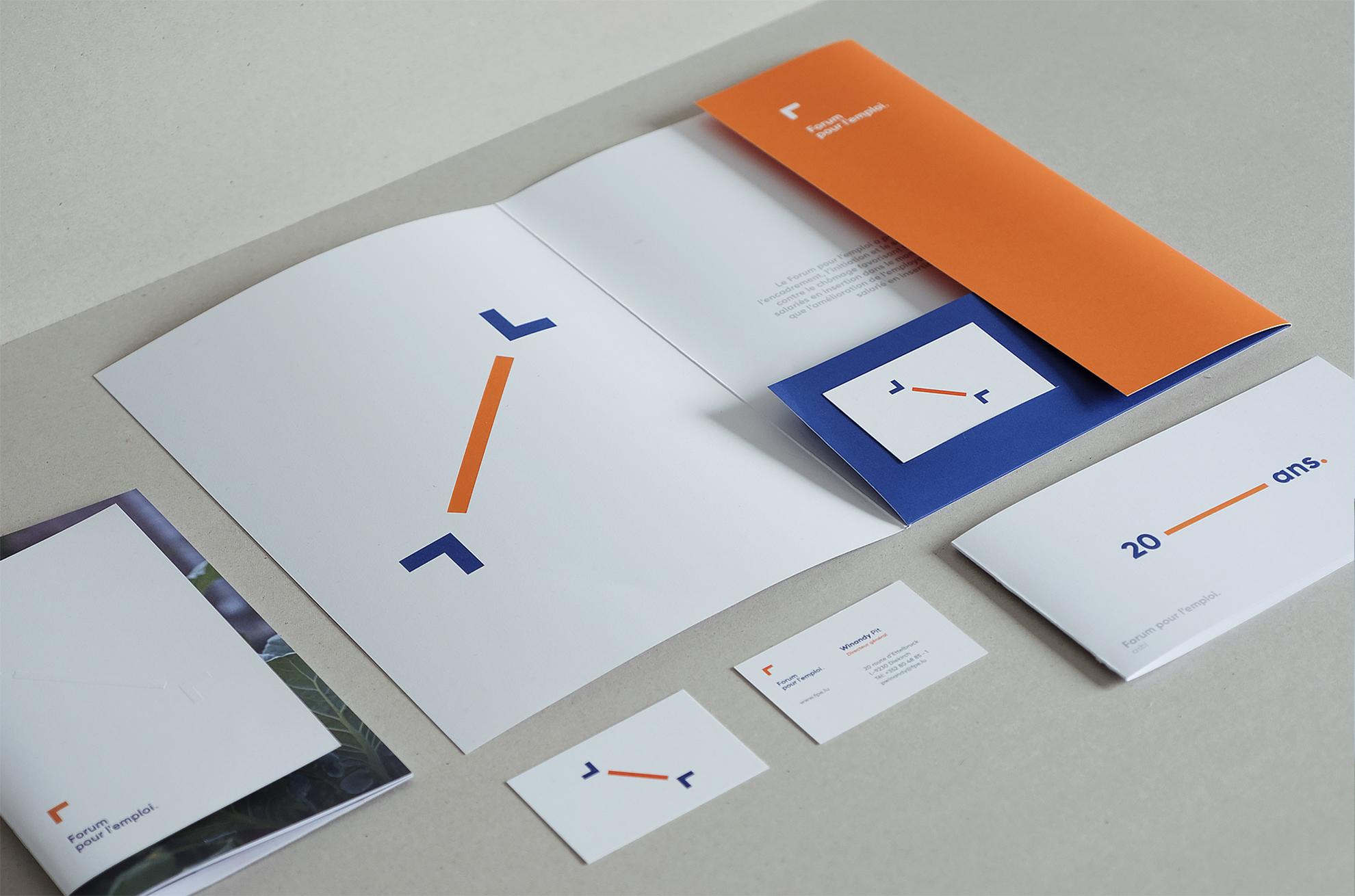 Forum pour l'emploi - identité visuelle, mise en page, layout, editorial design