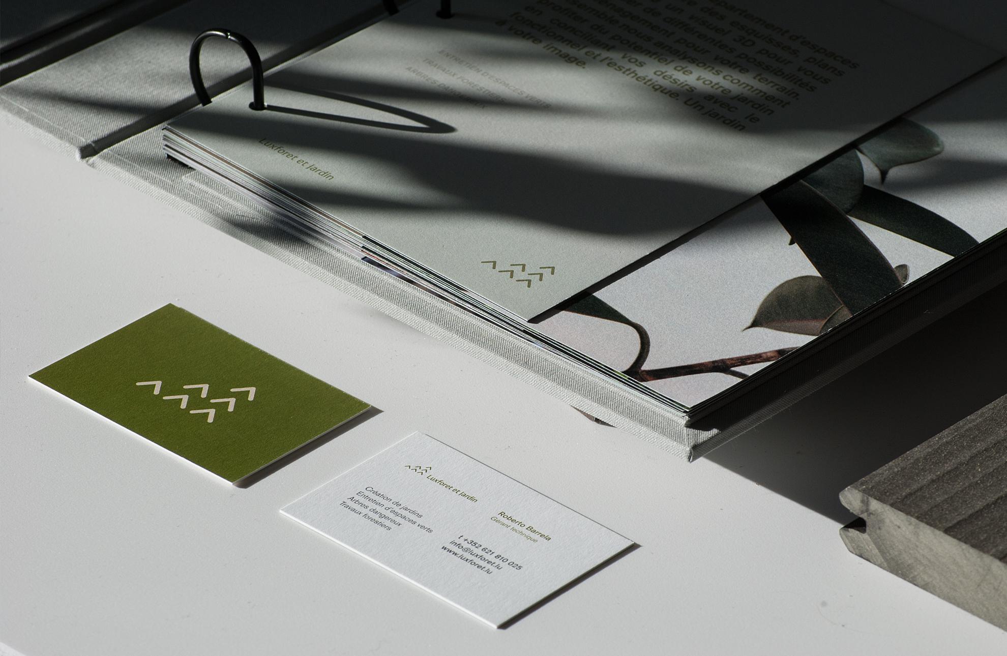Luxforet et Jardin - identité visuelle, cartes de visite, editorial design